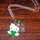 Handmade Hello Kitty with Green Heart and LOVE Pendant Silver Necklace
