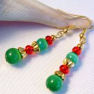 Green Cats Eye with Red Gold Beads Christmas Earrings