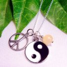 Yin Yang, Peace & Yellow Jade Sterling Silver Handmade  Necklace
