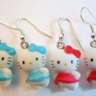 Kawaii Hello Kitty with Bow Earrings -Blue or Dark Rose