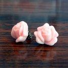Pink or Apricot Orange15mm Rose Flower Post Earrings Studs Handmade