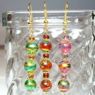 Round Glass Beads Gold Tone Earrings - Choose Color