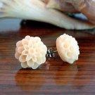 Handmade Dahlia Mum Flower Post Earrings Studs - Peach Purple Pastel Green
