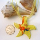 Starfish Lampwork Glass Pendant Necklace - Red, White, Yellow, Amber
