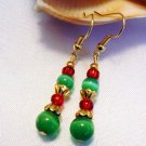 Green Cats Eye with Red Gold Beads Handmade Earrings