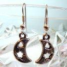 Silver Tone Star & Heart in Moon Earrings Handmade