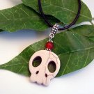 Bone Color Howlite Scull w/ Red or Black Gemstone Pendant Leather Necklace