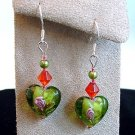 Sterling Silver Green Heart Glass Bead with Red Crystal Handmade Earrings