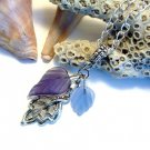 Purple  & Blue Frosted Glass leaves Silver Metal Leaf Handmade Pendant Necklace