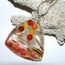 Large Volcano Cherry Quartz Pendant Sterling Silver Necklace