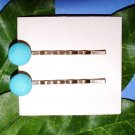 Upcycled Vintage Light Blue Covered Button Handmade Bobby Pins Hair Pins