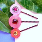 OOAK Pink Red Upcycled Vintage Button Handmade Bobby Pins Hair Pins