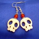 Spooky and Cute Off-white Howlite Scull and Red Jade Gemstone Dangle Earrings