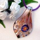 Foil Purple Teardrop Lampwork Glass Pendant with Flower Necklace