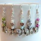 Handmade Silver Tone Butterfly & Heart Earrings - Pink, White, Blue, Green