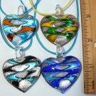 Heart Lampwork Glass Pendant Necklace - Choose Color