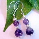 Purple Amethyst Gemstone with Filigree Beads Sterling Silver Handmade Earrings