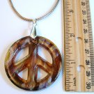 """Blue or Amber 2"""" Peace Sign Lampwork Glass Pendant Necklace"""