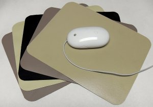 "Black Leather Mouse Pad - 8.5x11"" Rectangular"