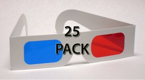 25 pack Classic Red/Blue 3D Glasses - Paper Anaglyph