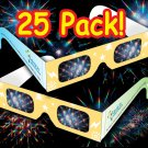 25 Pack - Rainbow Laser Holographic Diffraction Psychedelic Rave Glasses