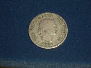1893 Swiss 5 rappen Switzerland