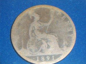 1891 British Victoria Large Penny
