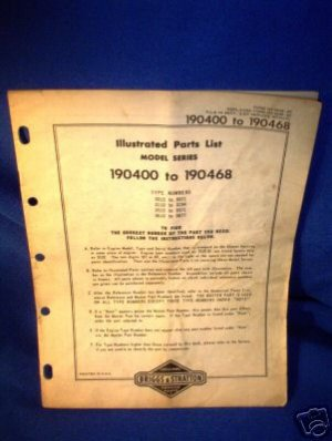 BRIGGS & STRATTON ILLUSTRATED ENGINE PARTS LIST
