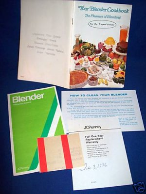 YOUR BLENDER COOKBOOK RECIPE BOOK & MANUAL SET-JCPENNEY