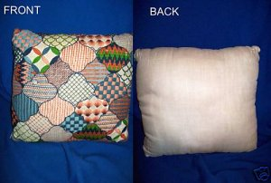 VINTAGE NEEDLEWORK THROW PILLOW - 1960'S/1970'S STYLE