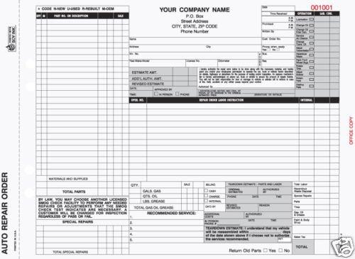 4-Part Auto Repair Order, Carbonless AROCC-665 Qty. 250