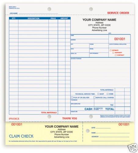 3-Part Service Order, Carbonless SOCC-505 Qty. 250