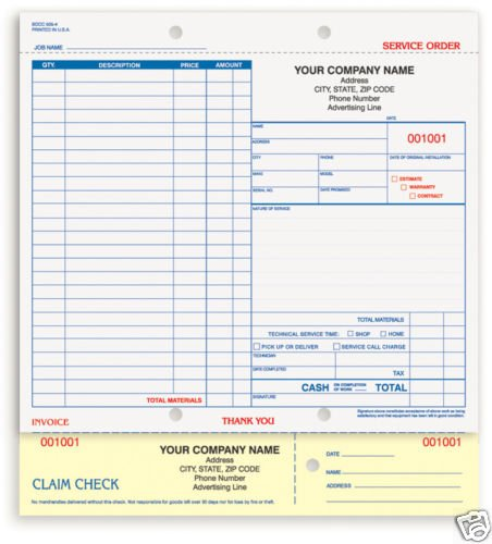 2-Part Service Order, Carbonless SOCC-505 Qty. 250