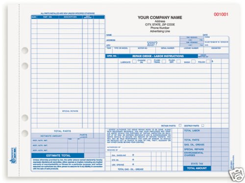3-Part Auto Repair Form, Carbon ARO-656