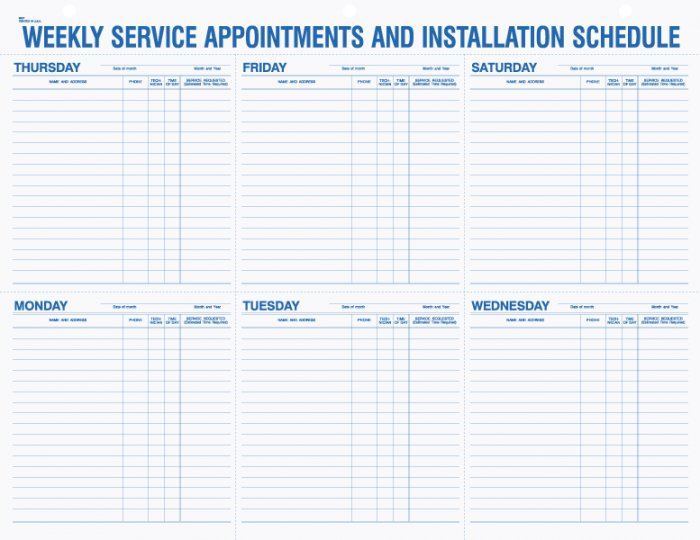 "9927, Weekly Service Appointment Pad, No Imprint, 22"" x 17"""