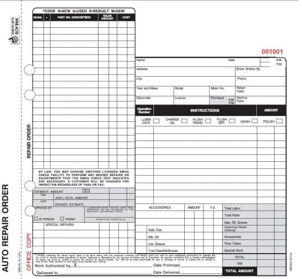 California Auto Repair Order Form - Arocc-377-4 Part