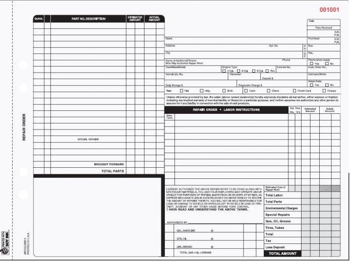 AROCC-685 Auto Repair Order 4pt QTY. 250