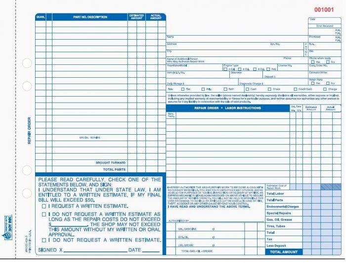 AROCC-624 Auto Repair Order 4pt QTY. 500