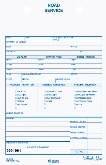 RS-242: Road Service Form, Carbonless 2pt QTY. 500