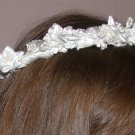 First Communion Satin Flowers and Pearls Wreath Headpiece