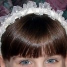 First Communion Flower Girl Headband Ruffles Flowers and Sequins