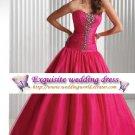 New sexy Deep Pink Prom/Ball/Evening strapless WeddingDress Custom Size  voile&satin