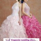 New sexy Prom/Ball/Evening pink&white WeddingDress Custom Size  voile&satin