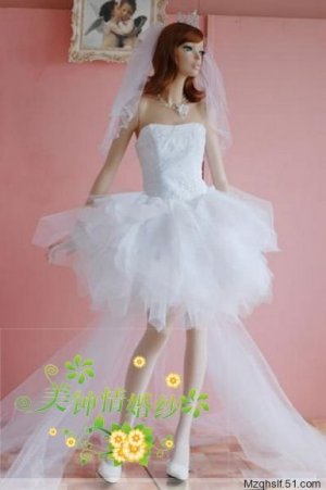 New sexy Prom/Ball/Evening strapless white WeddingDress Custom Size  voile&satin W002-9
