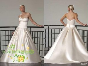 New sexy Prom/Ball/Evening strapless white WeddingDress Custom Size  voile&satin W002-31