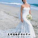 New sexy Prom/Ball/Evening strapless white WeddingDress Custom Size  voile&satin W002-32