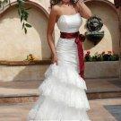 New sexy Prom/Ball/Evening white WeddingDress Custom Size  voile&satin W002-34