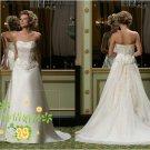 New sexy Prom/Ball/Evening strapless white WeddingDress Custom Size  voile&satin W002-35