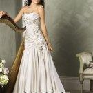 New sexy Prom/Ball/Evening strapless white WeddingDress Custom Size  voile&satin W002-40