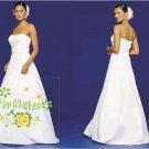 New sexy Prom/Ball/Evening strapless white WeddingDress Custom Size  voile&satin W002-50
